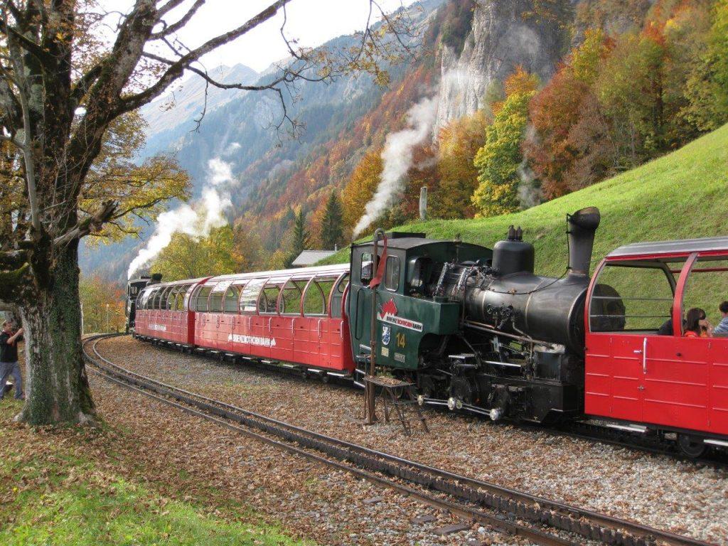 Zwei neue Zahnraddampflokomotiven warten in Geldried auf den Gegenzug. Foto Roger Waller
