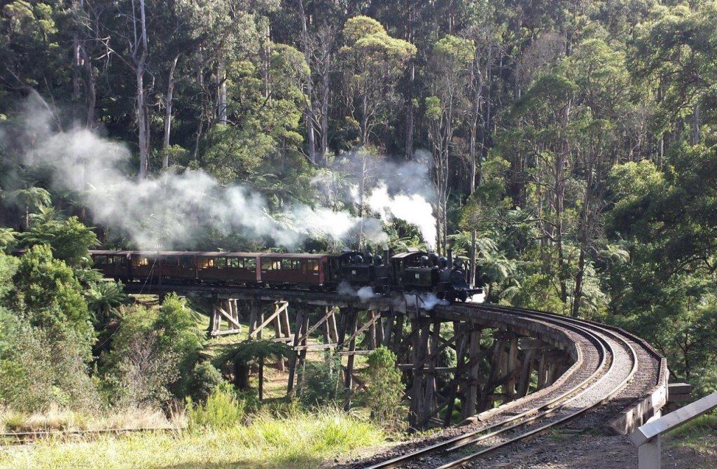 Die leichtölgefeuerte Lokomotive 14 A und die kohlegefeuerte 8 A überqueren am 22. 2. 2018 die Holzbrücke bei Belgrave. Foto Roger Waller