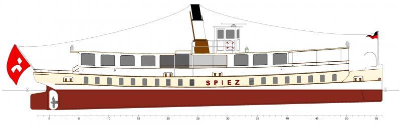 Projektzeichnung DS Spiez. Der Schraubendampfer DS Spiez wurde 1901 von Sulzer Winterthur für den einssatz auf dem Thunersee gebaut. Inn den Jahren 1951/52 wurde der Dampfantrieb ausgebaut und verschrottet. Der Antrieb erfolgte danach mit einem Dieselmotor der bereits 1961 ersetzt wurde. Ende 2007 wurde ds MS Spiez ausrangiert. Nach prüfung mehrere Varianten wurde 2017 dessen Revaporisierung mit einer modernen Dampfanlage beschlossen. Das Schiff wird mit einem automatisierten Dreizugkessel mit leichlöfeuerung mit einermeuen. fernbedienten Dampfmaschine ausgerüstet.