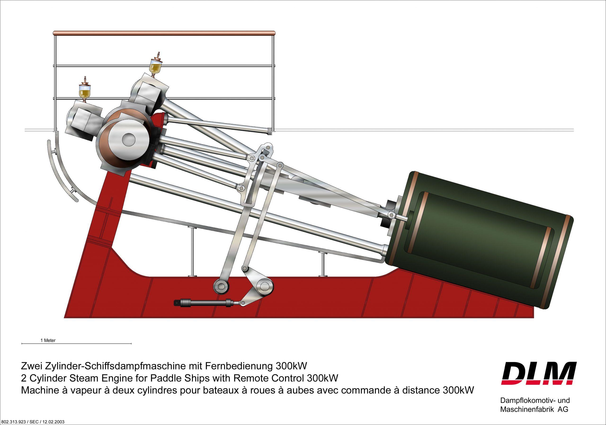 Zwei-Zylinder-Schiffsdampfmaschine