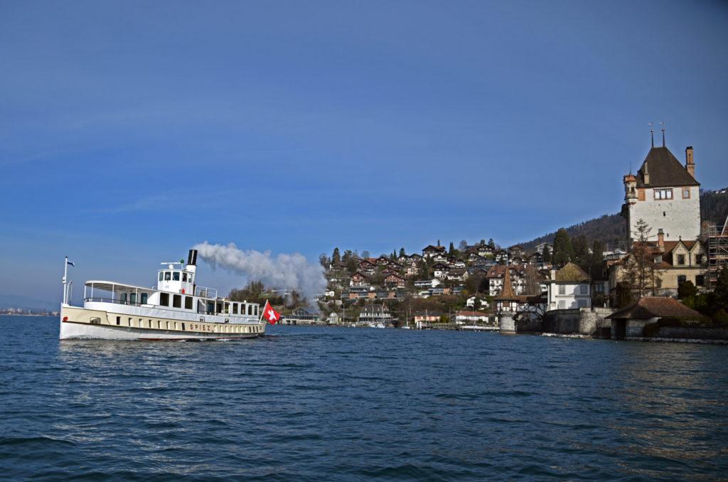 DS SPIEZ am 10. März 2021 in voller Fahrt beim Schloss Oberhofen. Foto Robert Horlacher